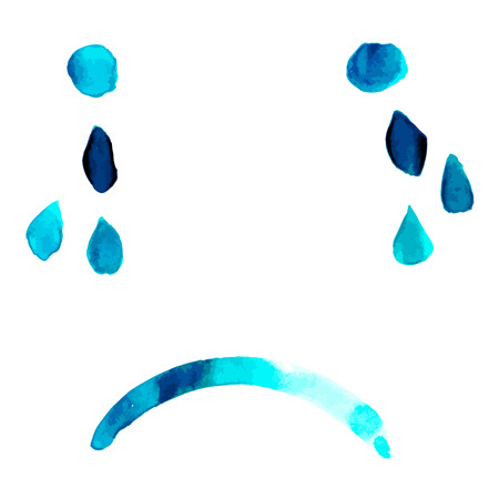 Blue. Abstract vector sad face with tears, hand painted in watercolor, depression concept Illustration