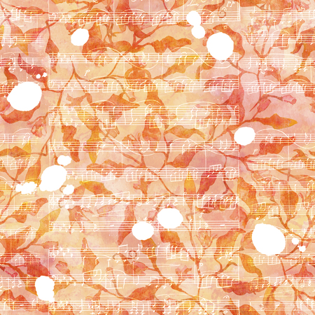 Seamless pattern with abstract branches and leaves, watercolour splashes and sheet music Banque d'images