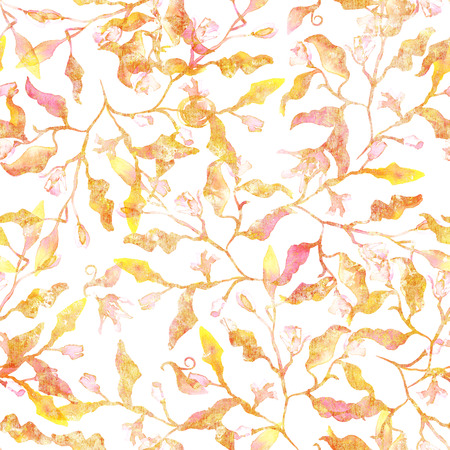 Seamless pattern with abstract branches and leaves, golden toned