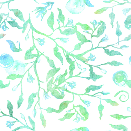 Seamless pattern with abstract branches and leaves in teal blue and green Stock Photo