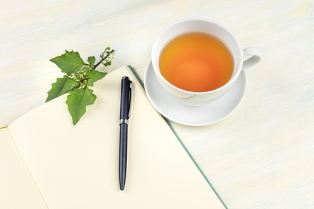 A photo of an open journal with a branch with green leaves, a pen and a cup of tea, with copy space