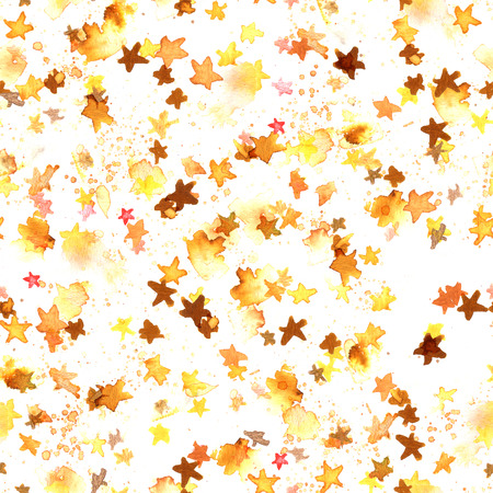 A seamless pattern with golden yellow abstract watercolour stars on a white background, a hand drawn starry repeat print