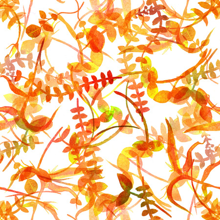 An autumn seamless pattern with yellow watercolor branches and leaves, a fall repeat print Stock Photo