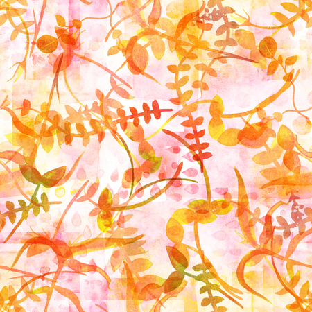 An autumn seamless pattern with yellow watercolor branches and leaves, a fall repeat print on a pastel pink patchwork background