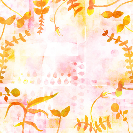 A frame with yellow autumn plants and copy space. Watercolor branches and leaves, forming a border for a fall design with a place for text. A greeting card or invitation template
