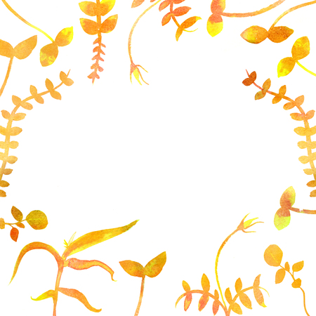 A frame with yellow autumn plants and copy space. Watercolour branches and leaves, forming a border for a fall design with copy space