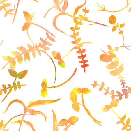 An autumn seamless pattern with yellow watercolor plants, branches and leaves, a golden fall repeat print