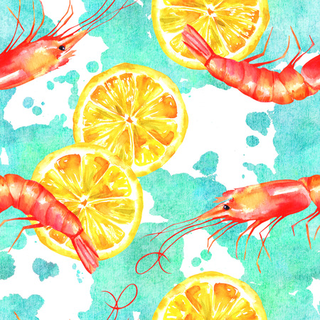 A seamless watercolor pattern with shrimps and lemons on a teal blue pattern, a fresh seafood repeat print