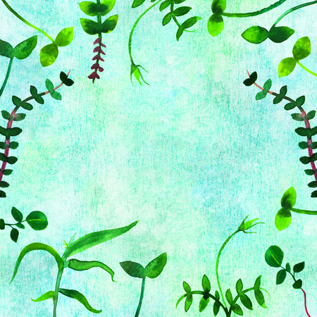 A frame with fresh green seedlings and copy space. Watercolor plants, branches and leaves, forming a border for a spring design with a place for text