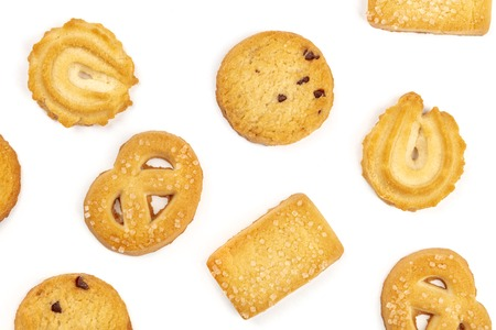 An overhead photo of Danish butter cookies on a white background