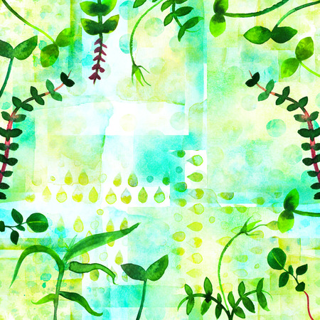 A frame with fresh green sprouts and copy space. Watercolor plants, branches and leaves, forming a border for a spring design with a place for text
