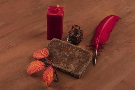 Fall Poetry. A photo of an old book with a thorny branch with vibrant leaves, an ink well, a quill, and a lit candle on a dark wooden background with copy space