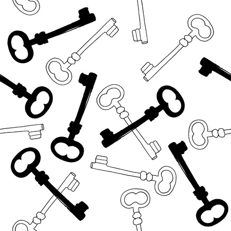 A seamless vector pattern with ink hand drawn skeleton keys, in black and white