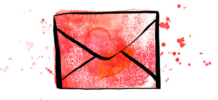A vector and watercolor drawing of a pink envelope with a heart, a Valentine or a love letter illlustration on a white background