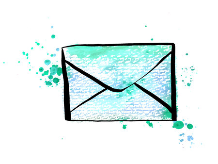A vector and watercolor drawing of a teal blue envelope, an icon on a white background 向量圖像
