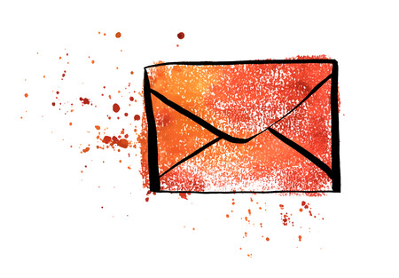A vector and watercolor drawing of a brown craft envelope, an icon on a white background