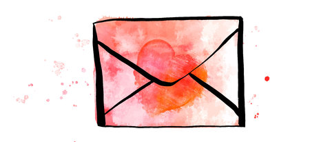 A vector and watercolor drawing of a pink envelope with a heart, a Valentine or a love letter illustration on a white background 向量圖像