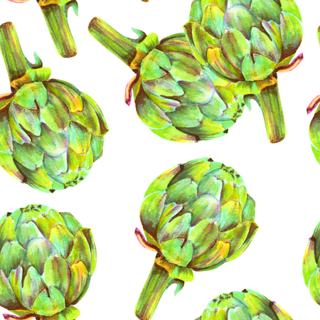 A seamless pattern of watercolor artichokes on a white background, a vegan repeat print