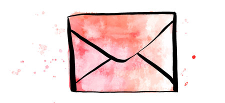 A vector and watercolor drawing of a pink envelope on a white background