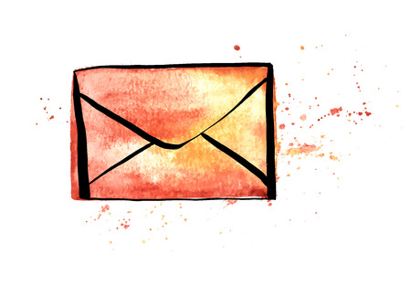 A vector and watercolor drawing of a brown craft envelope with splashes of paint, an icon on a white background