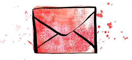 A vector and watercolor drawing of a red envelope on a white background