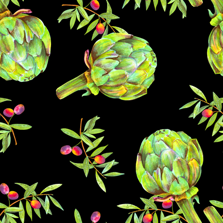 A seamless watercolor pattern of vibrant olive tree branches with olives and artichokes, a Mediterranean cuisine repeat print on a black background