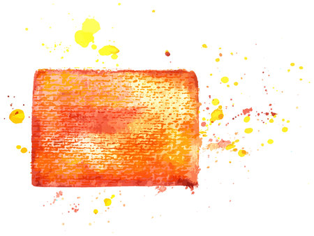 An abstract artistic vibrant yellow and orange watercolor background texture, scalable vector frame with a place for text.