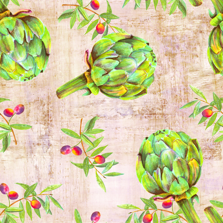 A seamless watercolor pattern of vibrant olive tree branches with olives and artichokes, a Mediterranean cuisine repeat print on an old paper background