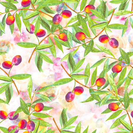 A seamless watercolor pattern of vibrant olive tree branches with olives, a vegan repeat print on an abstract pink background