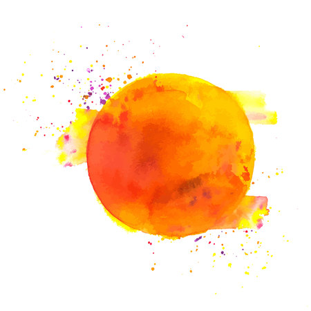 An abstract artistic orange watercolor background texture, vibrant vector drawing with a place for text