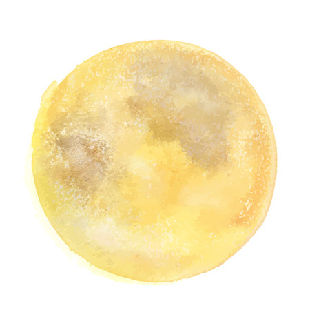 Vector and watercolor drawing, an abstract golden yellow background texture resembling a full moon Çizim