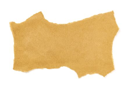 A piece of torn brown craft paper, shot from above on a white background with copy space Imagens