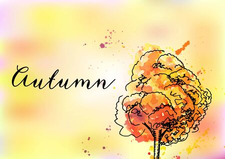 A vector watercolor autumn greeting card or invitation design template with a vibrant autumnal tree on an abstract blurred orange yellow background, with copy space