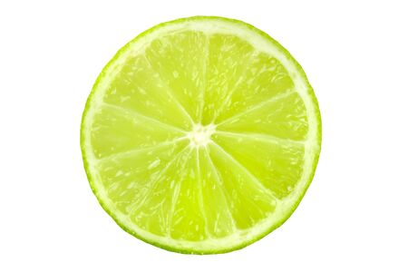 A vibrant lime slice, isolated on a white background