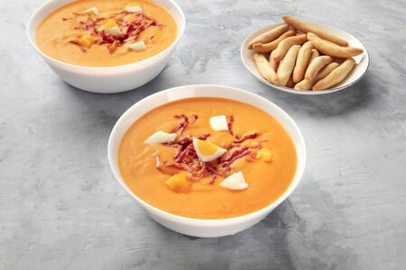 Salmorejo, Spanish cold tomato soup, with picos