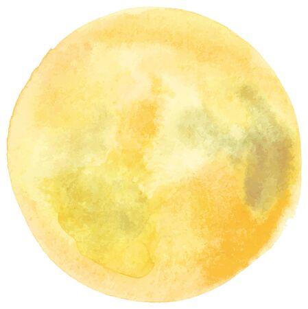 Vektor- und Aquarell-Vollmondzeichnung in blassem Goldgelb, eine abstrakte Hintergrundtextur