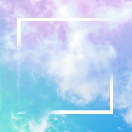 Vector neon pastel toned abstract sky background with clouds and a frame, a design template with a place for a quote and logo Stock Photo