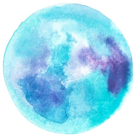 Vector and watercolor full moon drawing in teal blue, an abstract background texture 向量圖像