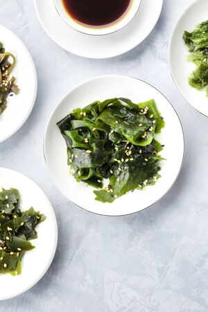 Sea vegetables, shot from above with a place for text. Superfoods background