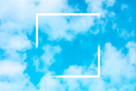 Abstract vector design template for a quote, blue sky background with white clouds and a square frame, a texture with a place for text and logo