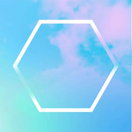 Vector neon pastel background, purple and blue sky texture with clouds and a frame, an abstract design template with a place for text and logo, toned image 向量圖像