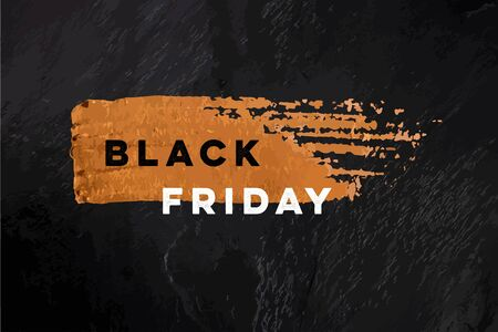 Black Friday sale vector banner with a golden bronze brush stroke texture on a black slate background, with a place for text and logo