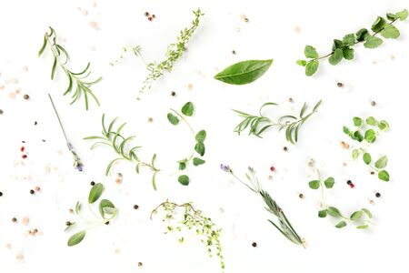 Culinary herbs and spices, shot from the top on a white background, cooking pattern
