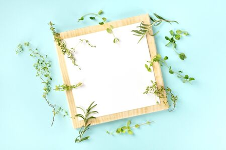 The herbs of Provence, a French food design template. A clipboard with aromatic kitchen herbs, shot from the top on a teal background with copy space