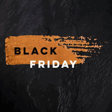 Black Friday sale vector banner with a golden bronze brush stroke texture on a black slate background.