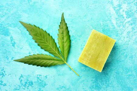 A cannabis leaf with homemade hemp soap, shot from above on a turquoise blue background 写真素材
