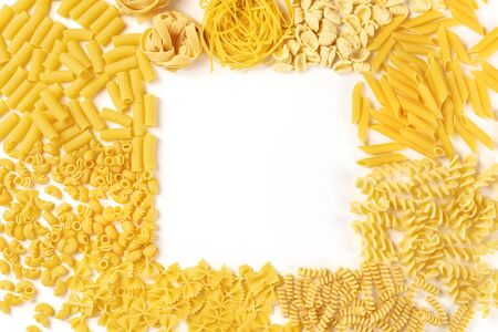 Italian pasta forming a square frame on a white background, shot from the top, a flat lay banner with copy space, a design template with a place for text