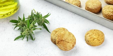 Cannabis butter cookies with marijuana buds and cannaoil, homemade healthy biscuits, close-up panoramic shot