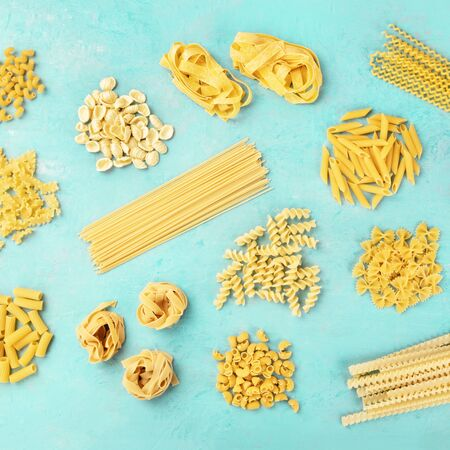 Italian pasta variety, square flatlay banner, top shot on a blue background