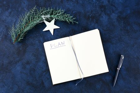 New Year resolutions, flatlay overhead shot with the handwritten word Plan and copyspace, on a dark blue background with a pen and a Christmas ornament